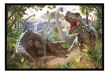 Dinosaur Battle Art By David Penfound Poster Magnetic Notice Board Inc Magnets