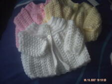 Hand Knitted Baby Girls Lacy Cardigan/Coat Size 0-3 Months