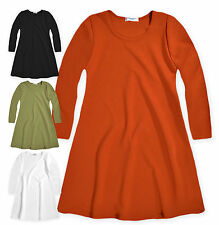 Girls A-Line Dress New Kids Long Sleeved Swing Flared Dresses Ages 5-13 Years
