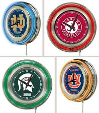 """Choose Your NCAA College Team 15"""" Round Chrome Double Neon Ring Wall Clock"""