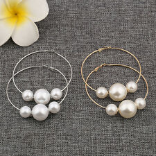 Womens Fashion Hollow Circle Round Imitation Pearl Lady Hoop Earrings Jewelry