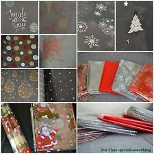 ROLL CHRISTMAS cellophane present gift wrapping SNOWFLAKES DEER TREE STAR BAUBLE