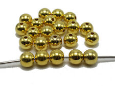 Golden Metallic Acrylic Smooth Round Beads 3mm 4mm 6mm 8mm 10mm 12mm 14mm