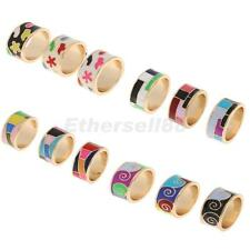 Fashion Gold Plated Multi-Color Rainbow Enamel Finger Ring Men Band Ring Size 8