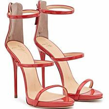 GUISEPPE ZANOTTI RED PATENT LEATHER US 5-10 HIGH HEEL SANDALS STRAP 120