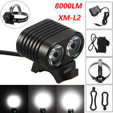 8000Lumen 2x CREE XM-L2 LED Cycling Bicycle Bike Light Headlight Head Front Lamp