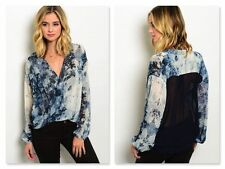 NWT NAVY BLUE & IVORY TYE DYE SURPLUS BLOUSE W/HIGH LOW HEM (S, M)
