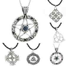 Pentagram Star Celtic Knot Cross Pewter Silver Pendant Choker chain  Necklace