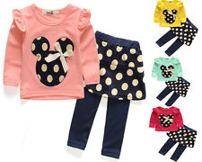 2pcs Toddler Baby Girls Minnie Outfits T shirt tops+ Pants Kids Clothes set
