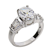 Oval Cubic Zirconia Sterling Silver Jewelry Women Wedding Engagement Ring