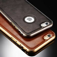 Luxury Leather Aluminum Frame Back Cover Case For Apple iPhone 5s/SE/6s 7 Plus