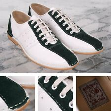 Delicious Junction Exclusive Mod Retro Bowling Shoe White Leather Green Suede