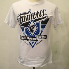 FAMOUS STARS & STRAPS Brand New White And Blue Cotton Graphic Famous T shirt