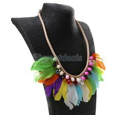 Ethnic Style Feather Tassel Crystal Beads Tribal Necklace Earrings Sets