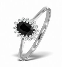 Sapphire Ring Sapphire and Diamond Ring Cluster Engagement Ring Size F-Z