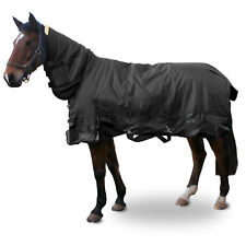 "BLACK HEAVY WEIGHT WATERPROOF FULL NECK HORSE TURNOUT RUG - SIZES 4.6"" - 7.3"""