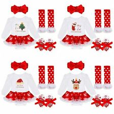 My First Christmas Santa Baby Girl Romper Fancy Tutu Dress Outfits Clothes 3-24M