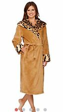 NEW WOMENS 1X TIGER DENNIS BASSO SNUGGLY PLUSH & FAUX FUR HOODED ROBE H206785