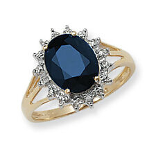 Sapphire Ring Diamond Engagement Large Cluster Dress Ring 9 Carat Yellow Gold