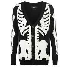 Iron Fist Womens Cardigan Cotton Skeleton Jumper Long Sleeve Button Front Top