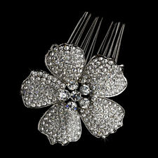 Hair Comb #3995 Antique with Clear Rhinestone Flower