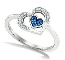 Great Design! 100% 10K White Gold Blue & White Diamond Heart Shape Ring .07ct
