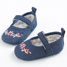 Baby Infant Toddler Pram Shoes Girls Blue Canvas Soft Sole Crib Shoes Size 0-18M