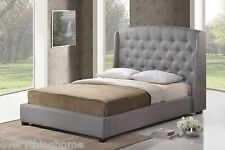 KING OR QUEEN PLATFORM BED FRAME GRAY LINEN W/ TUFTED WINGBACK NAIL HEAD TRIM