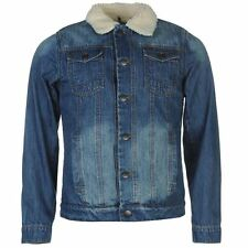 Firetrap Mens Sherpa Jacket Distressed Denim Button Front Collar Neck Top Coat