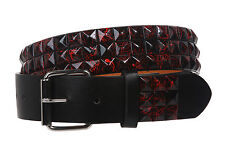 """Snap On 1 1/2"""" Black & Red Checkerboard Punk Rock Studded Belt"""