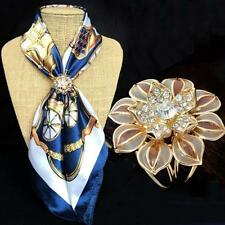 Women Gold-Plated Brooch Crystal Silk Scarf Clip Buckle Holder Pins Jewelry Gift