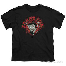 Youth: Betty Boop- Heart You Forever Apparel Kids T-Shirt - Black