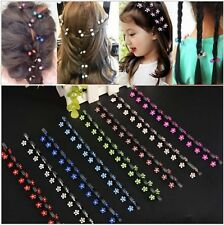 12PCS Girls Charms Rhinestone Crystal Flower Lovely Mini Hair Claws Clips Clamps