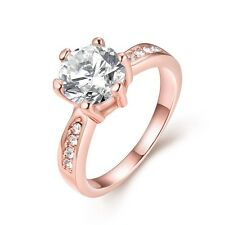 18k Women's Rose Gold Filled Rings Fashion Jewelry Wedding Gift Free Shipping