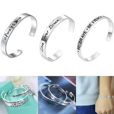 Fashion Letter Bangle Women Silver Family & Friend &Lover Cuff Bracelet Gift New