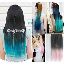 Womens full straight long tone colors hair extensions fashion hairpiece 5 clips