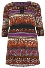 STELLA MORGAN PLUS SIZE AZTEC PRINT BUTTON DETAIL DRESS BROWN 8 10 12 14