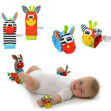 1 Pair Infant Baby Kids Cute Animal Hand Wrist Bells Foot Sock Rattles Soft Toys