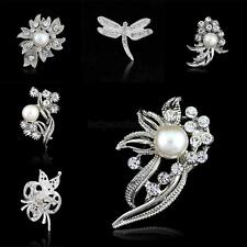 1X Rhinestone Crystal Wedding Bridal Bouquet Flower Pearl Brooch Pin Accessories