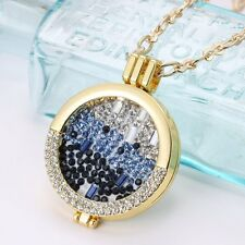 MY Coin 33mm Crystal Disc Handmade Locket Pendant Charm With 65cm Necklace Chain