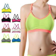 Women Padded Sports Bra Stretch Workout Tank Top Seamless Fitness Yoga Crop Top