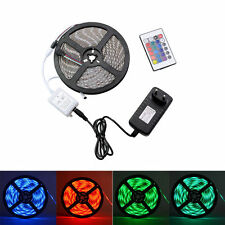 5M 5050 RGB SMD Flexible LED Strip Light 24/44keys Remote 12V 2A/5A Power Supply