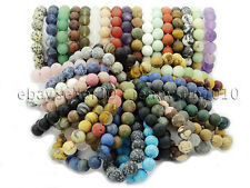 Handmade 12mm Matte Frosted Natural Gemstones Round Beads Stretchy Bracelet