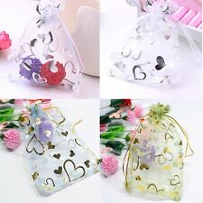 50 100 Lot Organza Heart Wedding Favors Jewelry Gift Candy Bags Pouches 9x12cm