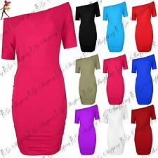 Ladies Womens Slash Neck Off The Shoulder Side Ruched Batwing Mini Bodycon Dress