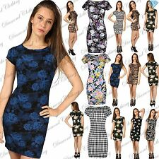 Women Ladies Short Cap Sleeves Scoop Neck Floral Aztec Tunic Bodycon Mini Dress