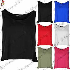 Ladies Womens Sleeveless Side Cut Out Racer Muscle Back Cropped Tank Vest Top