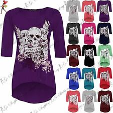 Womens Ladies 3/4 Sleeve Skull Forever Young Dip Hem Hi Lo Tunic Top Plus Size
