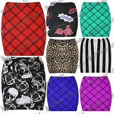 New Womens Ladies Stretchy Skull Leopard Length Bodycon Pencil Fitted Mini Skirt