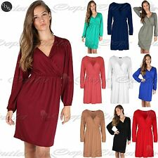 Ladies Womens Ruched Cross Over Swing Flared Front Wrap Skater Midi Dress Top